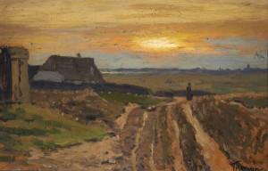 Franz Korwan, Studie eines Weges durch die Dünen bei Sonnenuntergang, Öl auf Malpappe