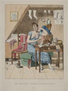 2017-05-12-espig-soelring-Gerhard Ludvig Lahde, nach Eckersberg, En falden piges biografi. Nr. III, handkolorierte Radierung mit Roulette-web